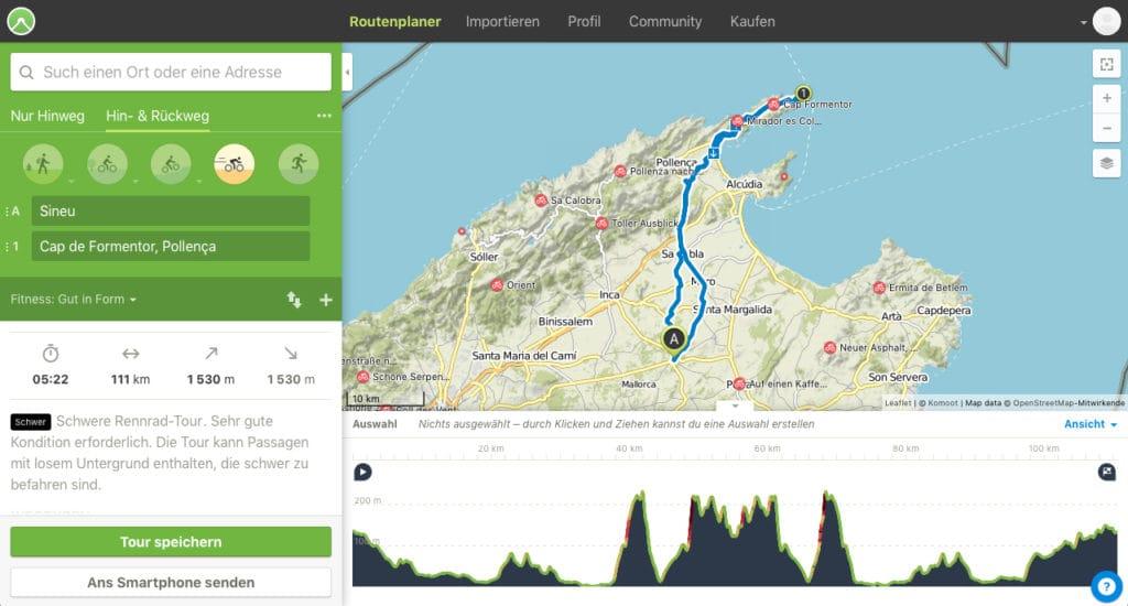 Routenplanung mit Kommod im Trainingslager Mallorca