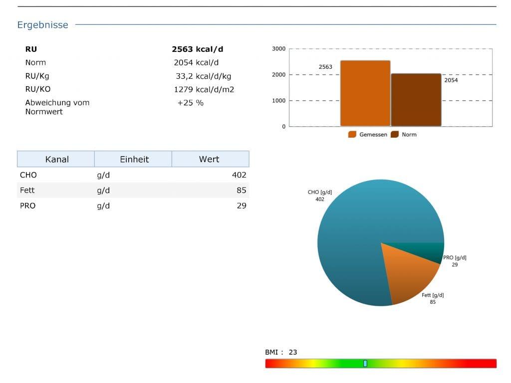Beispiel einer Stoffwechselanalyse mit Grundumsatzmessung