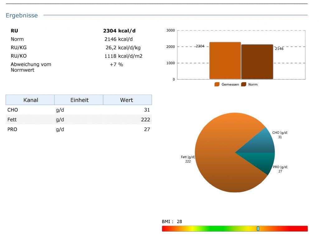 Beispiel einer Stoffwechselanalyse mit Ruheumsatzmessung